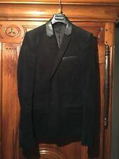 veste the kooples en velours finition cuir 44 / 34 XS noire homme TBE