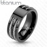 Men's 8mm Solid Titanium Black IP Two Wire Rope Inlay Comfort Fit Ring Band