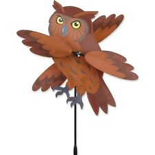 "Flying Brown Owl Bird Staked Wind Whirl Wing 17"" Bird Spinner ..16.....PR 21881"