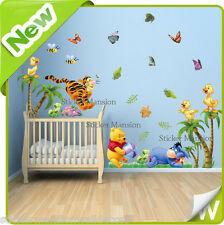 Winnie The Pooh Adesivi Da Parete Animale Farfalla Albero Baby Nursery