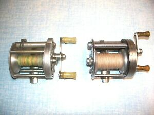 lot of two vintage casting fishing reels one langley mo 370 and  pflueger norby