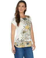 Denim & Co. Womens Printed Dolman Cap Sleeve Curved Hem Top Large Gold A305196