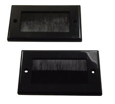 2x BLACK Double Gang Brush Entry / Exit Wall Face Plate : 2G Faceplate + Insert