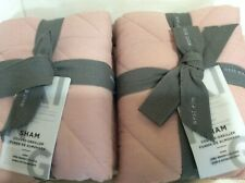 West Elm Two (2) Quilted Cotton Deco King Shams NWT! Rosette Pink