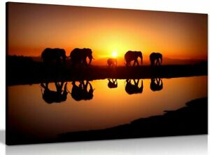 African Sunset Elephants Nature Wildlife Canvas 20x30 Inches Wall Art Picture
