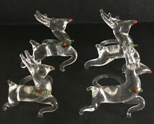 4 glass reindeer dee napkin rings holders Christmas Holiday Tableware