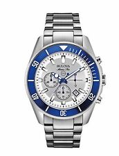 Bulova Marine Star Men's 98B204 Quartz Rotating Blue Bezel 43mm Bracelet Watch