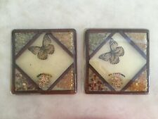Design Gifts 1970's Large Mod Resin Hot Plates Footed Butterfly Seeds Dry Flower