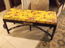 Black Painted Cane Bench w/Removable Upholstered Cushion