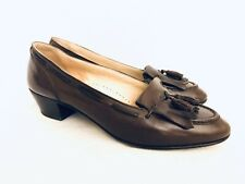 "Vintage Bally Leather Cognac Brown Tassel Made in Italy 2"" Heels sz-7B"