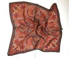 Vintage 100% Silk Scarf Brown Shades Paisley Print Gallery Originals 29� x 29�
