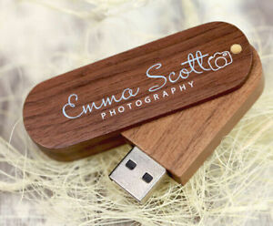 Custom Swivel Walnut Wood USB 3.0 Flash Drive Photography Pendrive 16GB 32GB 8GB