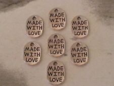 Wholesale 10PC Made With Love Silver Plated Loose Charm Pendants Round Oval NEW
