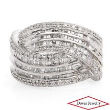 Estate Diamond 14K White Gold Crossover Band Ring 7.5 Grams NR