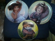 """3-Sue Etem Collector plates """"Katy"""",""""Jake"""" @ 10 1/2 & """"Love in your Heart"""" 8 1/4"""