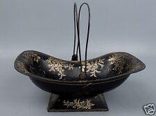 Rare Antique Toleware Swing Handle Basket - Unusual Form Black & Gold Tole VR