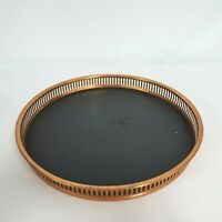 Vintage Coppercraft Guild Copper Serving Tray with Black Faux Leather 60's-70's