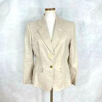 Tahari ASL Petite Womens Beige w/ Gold Sparkly Linen & Cotton Blazer Jacket 12P