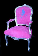 French Louis Armchair Silver Tinkerbell Shabby Chic Antique Style Pet Girl Bed