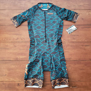 ZOOT Mens M LTD TriSuit Short Sleeve Aero Blue Triathlon Skinsuit Racesuit M