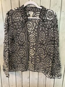 Chicos Size 1 Lace Crocheted Jacket