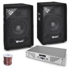 SET DJ SKYTEC AMPLIFICATORE 2 CASSE POTENZA 800W CAVI  SET KARAOKE CASSE PASSIVE