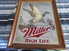 Miller Beer Sign Mirror Wildlife Collection Wisconsin Mallard Duck Game Bar Pub
