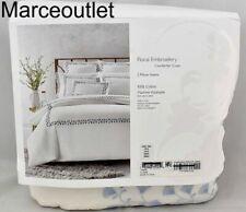 Sky Floral Embroidery Full Queen Duvet Cover & Shams Set Bellflower White - Blue