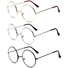 Oversized Metal Frame Nerd Women Men Clear Lens Round Circle Eye Glasses Large