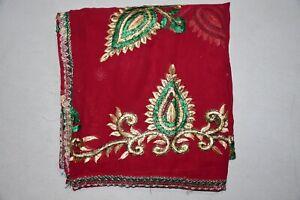 "Leaf Dgn Indian Wedding Dupatta Scarf Sequins Embroidery Georgette Veil L"""
