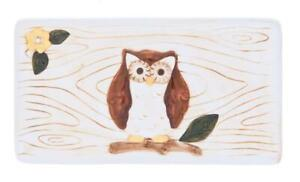 ER22809 Woodsy Owl Rectangular Plate Kitchen Home Forest Nature Hoot Appetizer