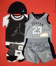 AIR JORDAN Boys 6-pc Outfit set Bodysuit, Cap, Jersey, Shorts & Booties 6-9Mths.