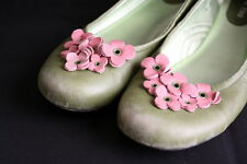 Me Too Green Leather With Pink Flower Shoes Shimmer Size 8M Slip ons