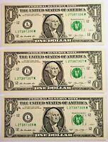 3 billets de 1 DOLLAR US avec numéros de série consécutifs - LIVRAISON GRATUITE