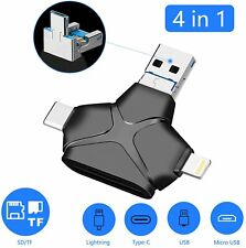 USB 3.0 TF/SD Card Reader with USB C/Micro USB/Lightning,4 in 1 Memory Card Read