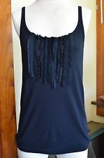 J. Crew Black Size Large Cotton with Silk Front Sleeveless Blouse Top