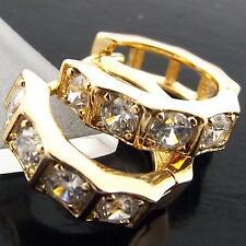 Real 18k Yellow G/F Gold Solid Earrings Huggie Hoop Diamond Simulated Design