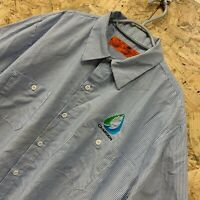 Vintage RED KAP Workwear Work Short Sleeve Shirt Striped Blue USA XL