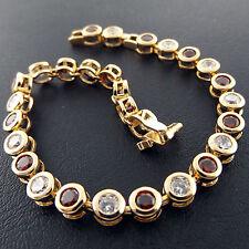 BRACELET BANGLE GENUINE REAL 18K YELLOW G/F GOLD DIAMOND SIMULATED CITRINE