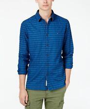 Tommy Hilfiger hombre oscuro de rayas azules con botones camisa 2XL