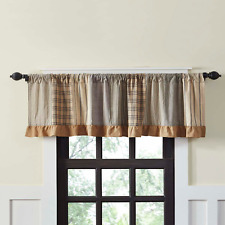 "SAWYER MILL Patchwork Valance Black Plaid Tan/Khaki Country Farmhouse 16""x 72"""