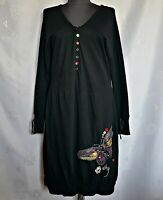 AUTHENTIC DESIGUAL POP ART LOGO EMBROIDERY BLACK COTTON  WOMEN DRESS-SIZE 20/48