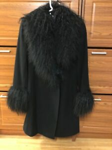 MARVIN RICHARDS Black Wool Mongolian Fur Trim Coat. Size 6
