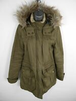 WOMENS NEW LOOK KHAKI GREEN ZIP/BUTTON UP FAUX FUR HOODED PADDED PARKA UK SIZE 8