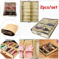 2pcs Foldable Storage Shoe Organizers Closet Drawer Home 12 Cells Under Bed Bag