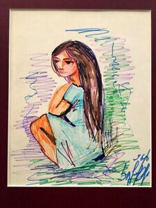 Girl w Long Hair- GRAPHIC DRAWING PAINTING Russian ARMENIAN- ISABEKYAN Isabekian