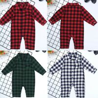 Newborn Baby Boy Girl Plaid Romper One-piece Shirt Collar Tops Jumpsuit Clothes