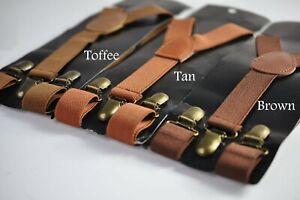 Toffee Tan Brown 25MM Elastic Y-Back Suspenders Braces Bronze Metal Clips Allage