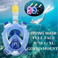 Full Face Diving Mask Seaview 180 Snorkel Mask Panoramic Diving Set+ GoPro Mount