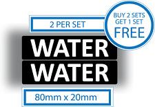2 X Pegatinas de Agua Coche Furgoneta combustible gasolina Recordatorio Advertencia Vinilo Calcomanía 80x20mm
